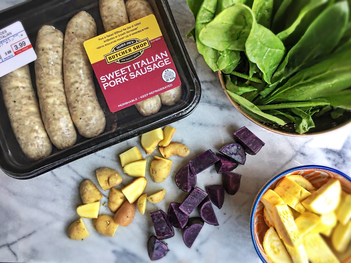 Easy Dinner: Italian Sausage, Roasted Potatoes, Spinach & Squash