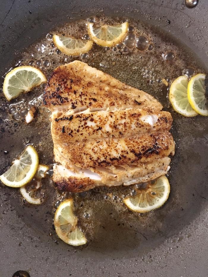 almonds and asana pan seared grouper