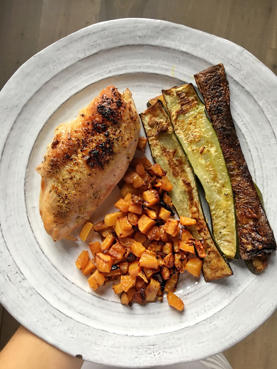 Simply Roasted Lemon Pepper Chicken, Zucchini, and Trader Joe's Pre-Cut Butternut Squash