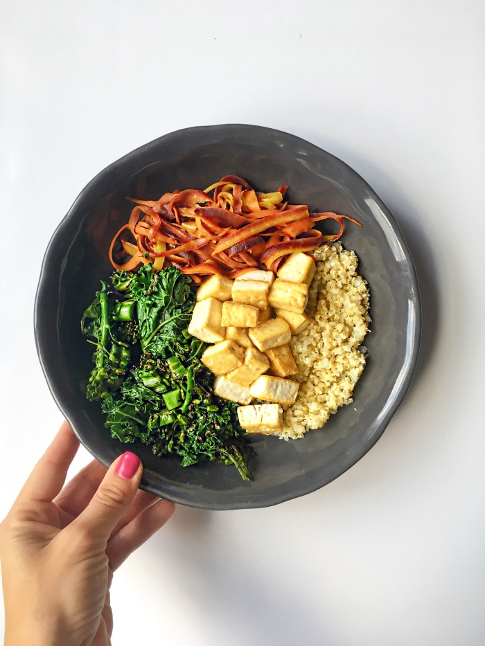 almonds and asana asian quinoa tofu bowl