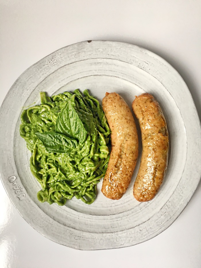 almonds and asana chicken sausage with avocado pesto cream sauce