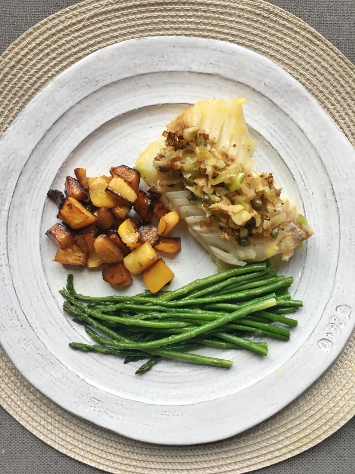 almonds and asana cod with leeks and capers.jpg