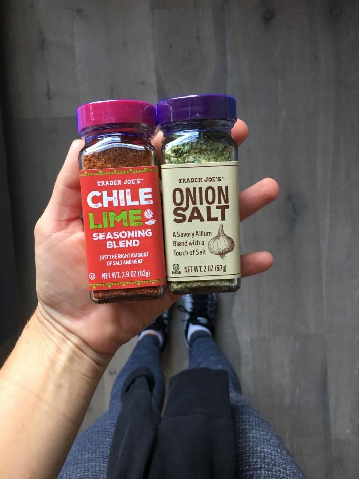 almonds and asana onion salt and chile lime seasoning