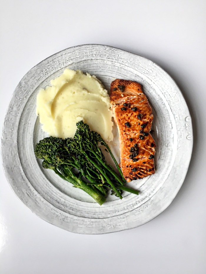 almonds and asana salmon and garlic olive oil mashed potato dinner