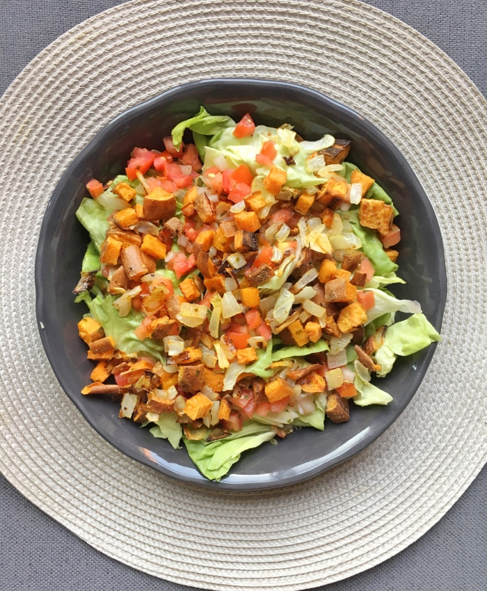 almonds and asana taco salad with sweet potato