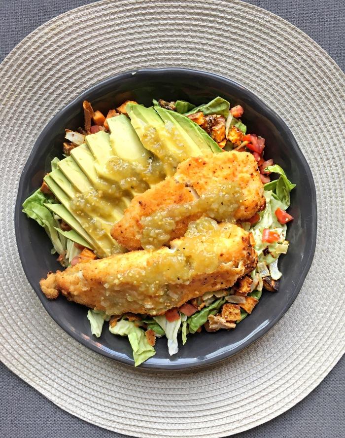 almonds and asana tilapia salad