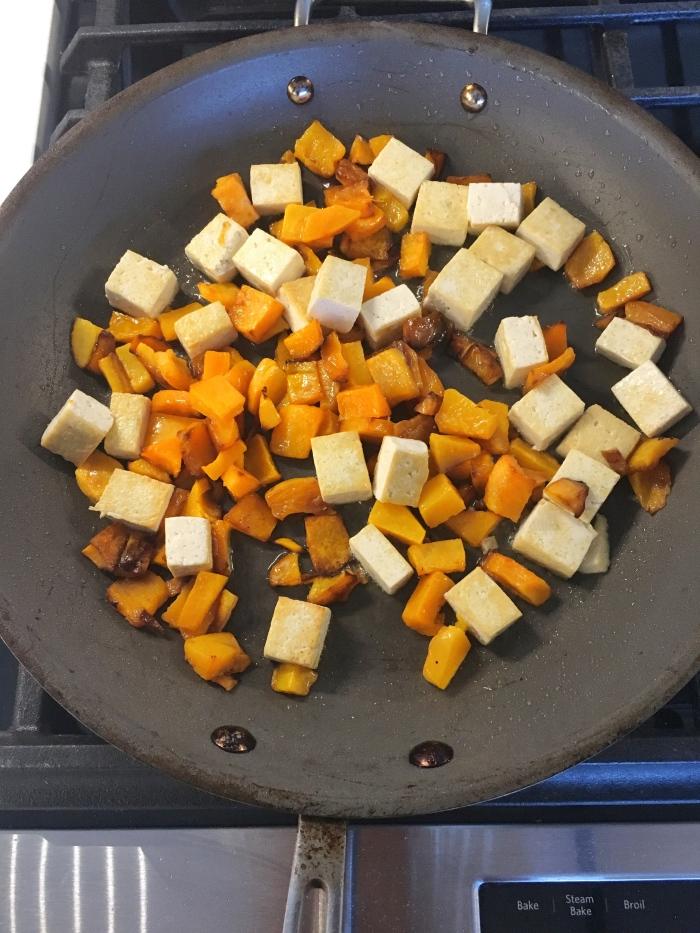 almonds and asana tofu and butternut squash saute