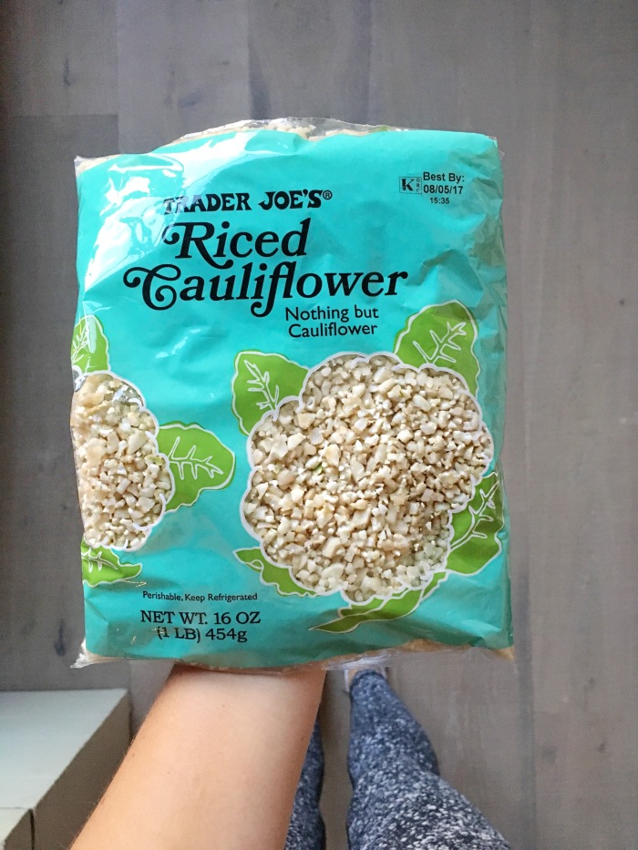 almonds and asana trader joes cauliflower rice
