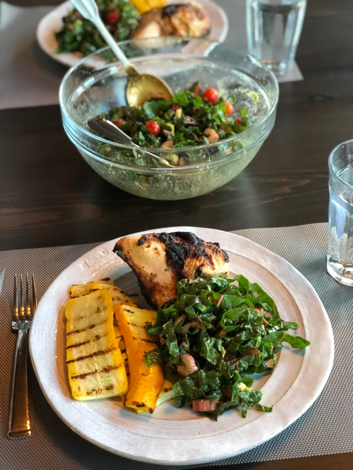 almonds and asana dijon grilled chicken with farmers market produce