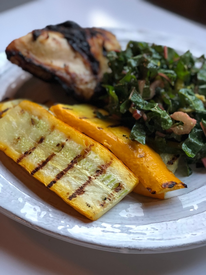 almonds and asana finished grilled yellow squash