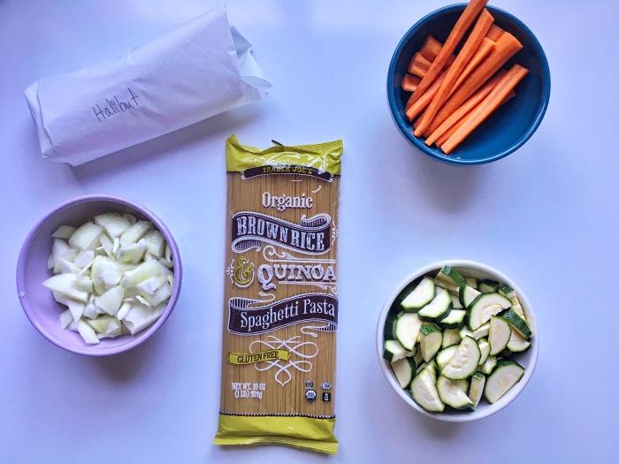 almonds and asana lemon halibut butternut squash cream sauce prep