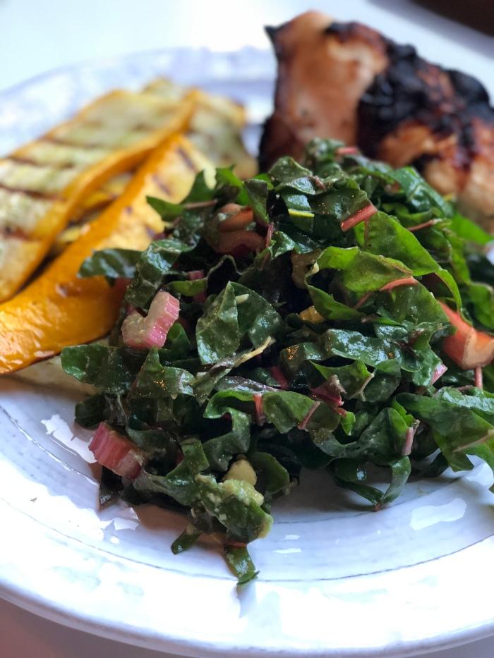 almonds and asana rainbow chard salad