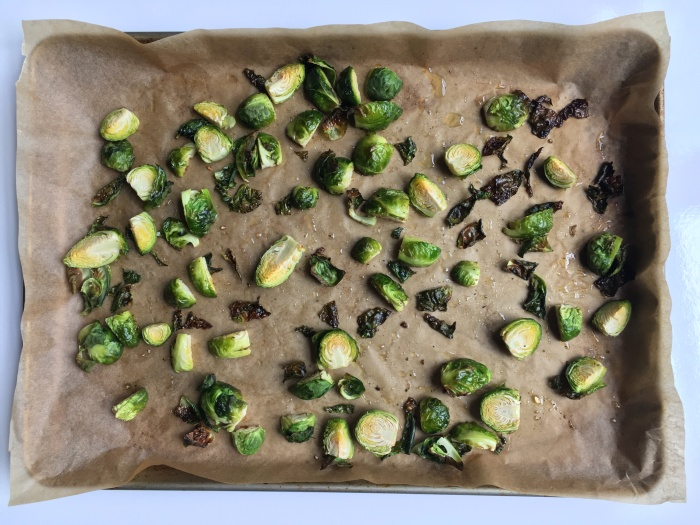 almonds and asana roasted brussels