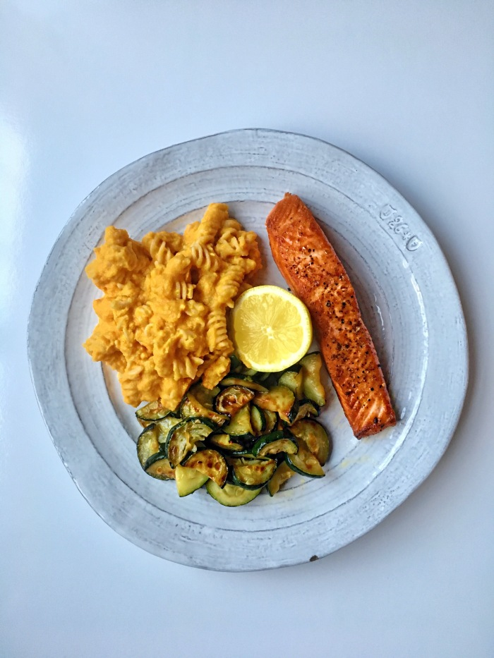 almonds and asana wild king salmon with vegan mac n cheese