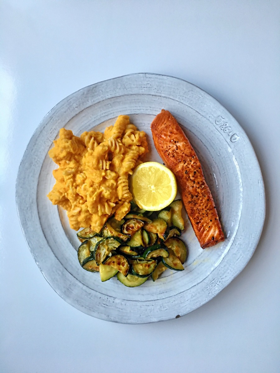 Wild King Salmon with Roasted Cauliflower & Carrot Vegan Mac N' Cheese and Sauteed Zucchini​