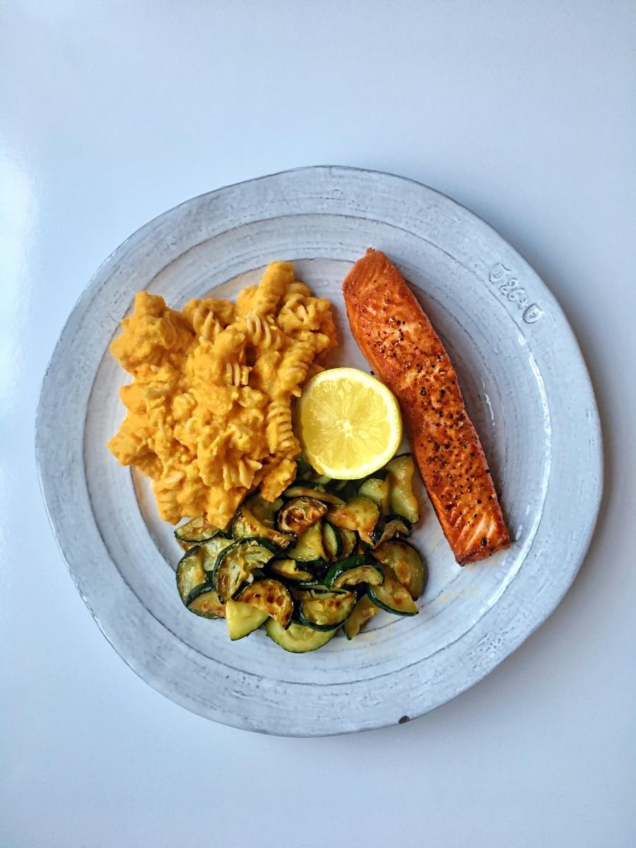 Wild King Salmon with Roasted Cauliflower & Carrot Vegan Mac N' Cheese and Sauteed Zucchini