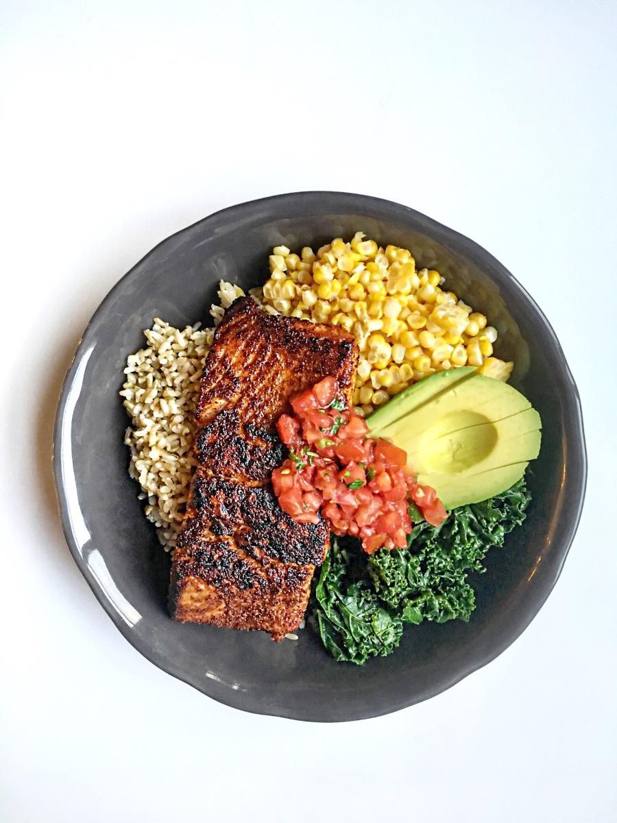 Blackened Wild Coho Salmon Bowl with Brown Rice, Sweet Corn, Kale & Pico De Gallo