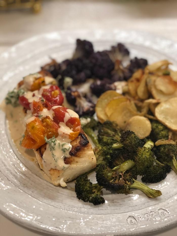 almonds and asana halibut and broccoli