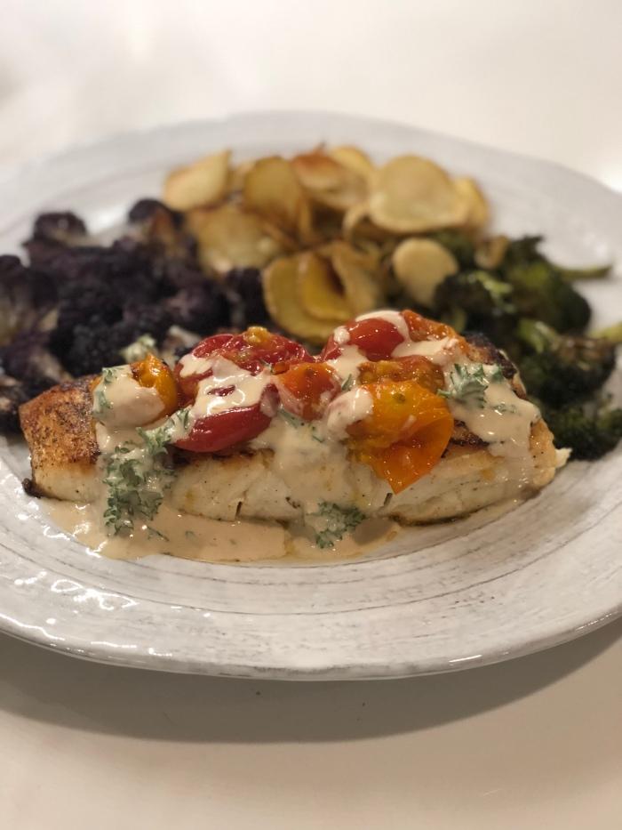 almonds and asana halibut tahini dinner