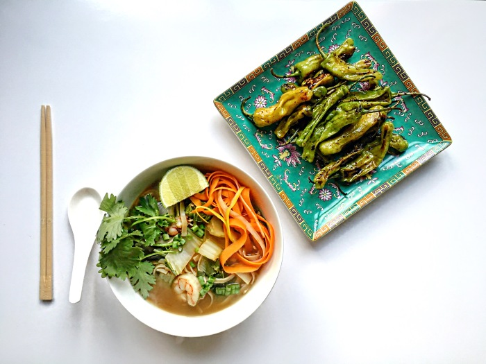 almonds and asana miso shrimp noodle soup with shishito peppers