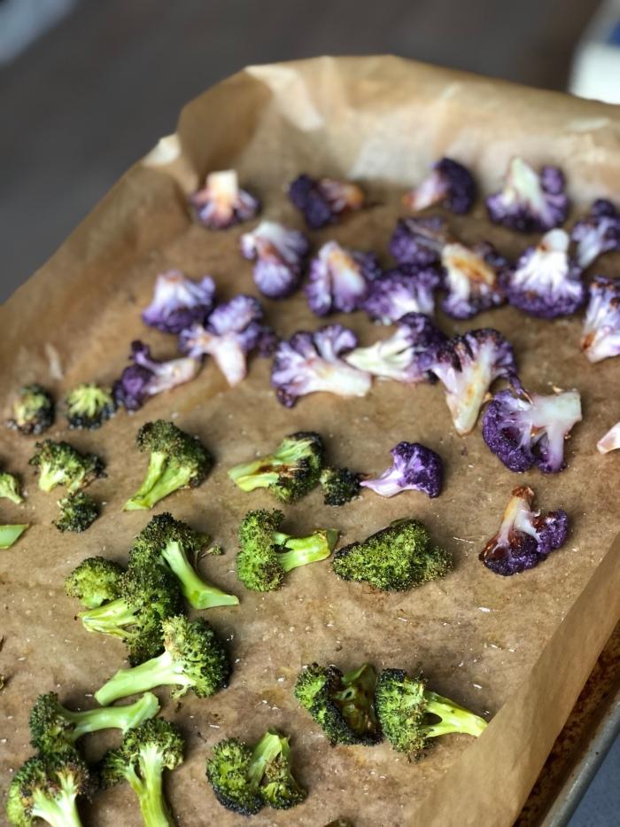 almonds and asana roasted broccoli