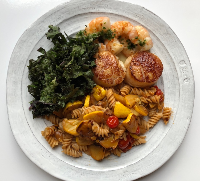 almonds and asana scallop and pasta dinner