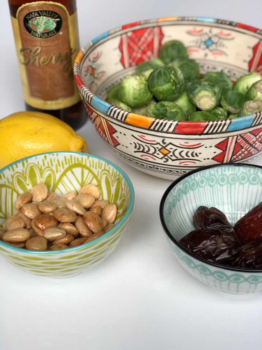 Warm Brussel Sprouts Salad with Dates & Marcona Almonds